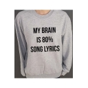 Letter Print Long Sleeve Round Neck Women's Pullover Sweatshirt