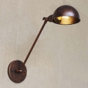 One Light Adjustable Rust Finish Industrial Wall Light of Restoration Style