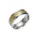 Fashion Dragon Print Stainless Steel Ring