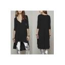 Women's V-Neck 3/4 Sleeve High Low Hem Pleated Dress