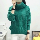Women's Turtle Neck Solid Color Cable Knit Sweater