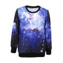 Women's Galaxy Print Roll Neck Pullover Sweatshirt