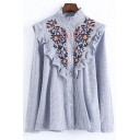 Petal Stand-Up Collar Long Sleeve Floral Embroidery Women's Ruffle Blouse