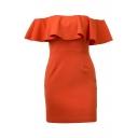 Women's Fashion Off the Shoulder Ruffle Detail Plain Mini Pencil Dress