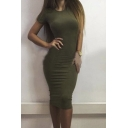 Women's Fashion Round Neck Short Sleeve Plain Party Midi Bodycon Dress