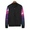 Galaxy Print Fashion Long Sleeve Zip Placket Baseball Jacket