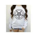 Women's Round Neck Long Sleeve Geometric Print Basic Sweatshirt