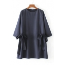 Women's Round Neck 3/4 Sleeve Bow Waist Plain Loose Dress