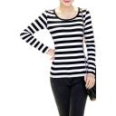 Women's Long Sleeve Stripe Pattern T-Shirt Loose Casual Tops