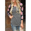 New Arrival Striped Floral Printed Raglan 3/4 Length Sleeve T-Shirt Top