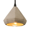 Concise Style 5'' W Hanging Pendant with Cement Shade