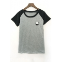 Alien Embroidery Short Sleeve Round Neck Color Block Tee