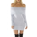 Women's Long Sleeve Off Shoulder Knitted Sweater Dress