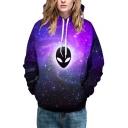 Galaxy Print Long Sleeve Unisex Pullover Casual Hoodie