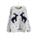 Women's Deer Print Round Neck High Low Hem Knitted Sweater