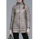Women's Ultra Light Packable Long Down Jacket Outwear Zip Down Coats