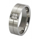 Unisex Crystal Insert Plain Titanium Steel Ring