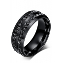 Unisex Crystal Double Insert Black Titanium Steel Ring