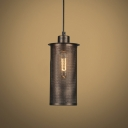 Vintage Style Antique Rust Finished Cylinder Shade Single Light Hanging Light