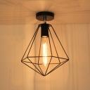 Diamond Shape Style Single Light Semi-Flush Ceiling Fixture