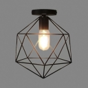 Cage Style Diamond Shape Semi Flush Ceiling Light in Black
