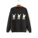 Women's Cute Rabbit Print Long Sleeve Round Neck Casual Sweater