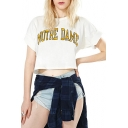 Fashion NOTRE DAME Letter Printed Short Sleeve Round Neck Cropped Tee