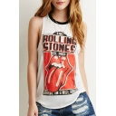 Women's White Rock Band The Rolling Stone Print Tank Top