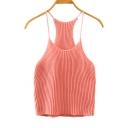 Women's Cami Crop Top Spaghetti Strap Knit Tank Top