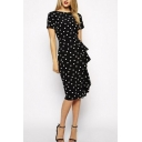 Retro Style Polka Dots Short Sleeve Split Back Hem Round Neck Midi Pencil Dress
