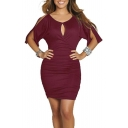Women's Cold Shoulder Bodycon Bandage Party Midi Dress with Sleeve