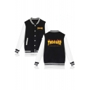 Fire Letter Print Long Sleeve Single Breasted Baseball Jacket