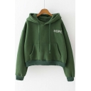 Popular Hooded Letter Embroidery Plain Hoodie with One Kangaroo Pocket