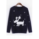 Christmas Snow Deer Print Women's Long Sleeve Round Neck Sweater