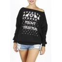 Women Printed Off Shoulder Pullover Slouchy Shirt Casual Sweatshirts