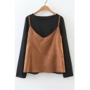 Fake Two-Piece Color Block Women's Round Neck Long Sleeve Blouse
