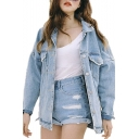 Womens Fashion Juniors Long Sleeve Loose Cowboy BF Denim Jacket Coat with Pockets