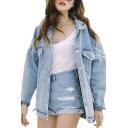 Womens Fashion Juniors Long Sleeve Loose Cowboy BF Denim Jacket Coat with Pockets