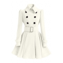 Women's Double Breasted Belt Waist Plain A-Line Trench Coat