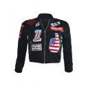 Women's Patchwork Pilot Bomber Zipper Jacket Coat