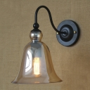Bell Shaped Amber Glass Shade Gooseneck Arm Industrial Wall Light