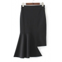 Women's Fashion Asymmetrical Hem Plain Midi Pencil Skirt