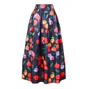Floral Printed OL Maxi Skirt for Women High Waist