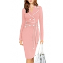 Elegant Notched Lapel Double Breasted Belt Waist Midi Pencil Dress with Long Sleeve