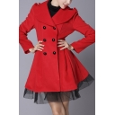 Fashion Notched Lapel Double Breasted Detachable Mesh Hem Tunic Coat