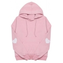 Sweet Heart Embroidery Long Sleeve Loose Basic Drawstring Hoodie