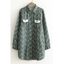Retro Style Tree Printed Single Breasted Lapel Long Sleeve Tunic Button Down Shirt