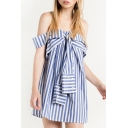 Fashion Off the Shoulder Tie Front Women's Striped Mini Shift Dress