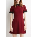 Women's Elegant Doll Collar Contrast Cuff A-Line Dress Skater Dress