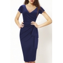 Sexy Fashion V-Neck Wrap Front Bow Waist Plain Midi Sheath Dress